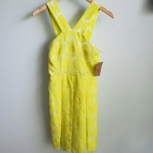 Cremieux yellow embroidered daisy dress 0